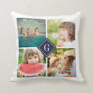 Navy Monogram Instagram Photo Collage Cushion