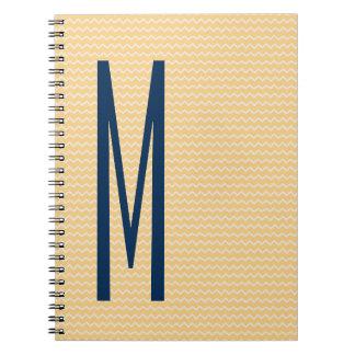 Navy Monogram on Mini Orange Chevron Pattern Notebooks