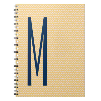 Navy Monogram on Mini Orange Chevron Pattern Notebooks