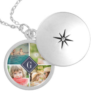 Navy Monogram Photo Collage Locket Necklace