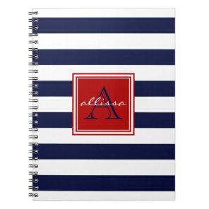 Navy Monogrammed Awning Stripe Notebook
