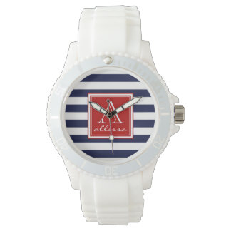 Navy Monogrammed Awning Stripe Watch