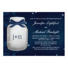 Navy Monogrammed Firefly Mason Jar Couples Shower Card