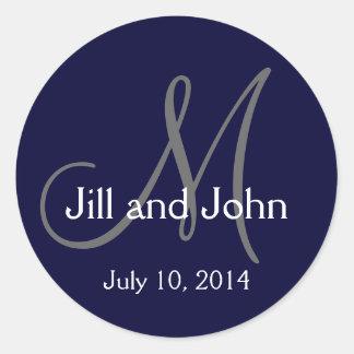 Navy Monograms Names Date Wedding Stickers