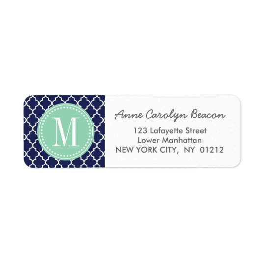 Navy Moroccan Tiles Lattice Personalised Return Address Label