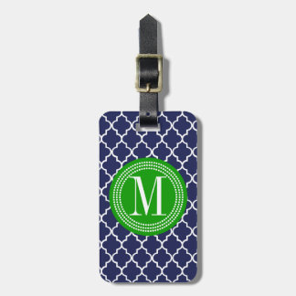 Navy Moroccan Tiles Lattice Personalized Luggage Tag