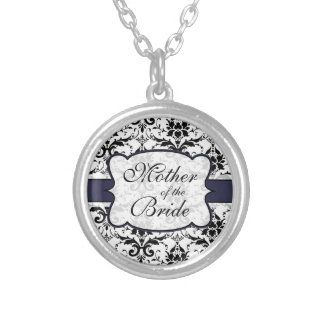 (Navy) Mother of the Bride Damask Necklace
