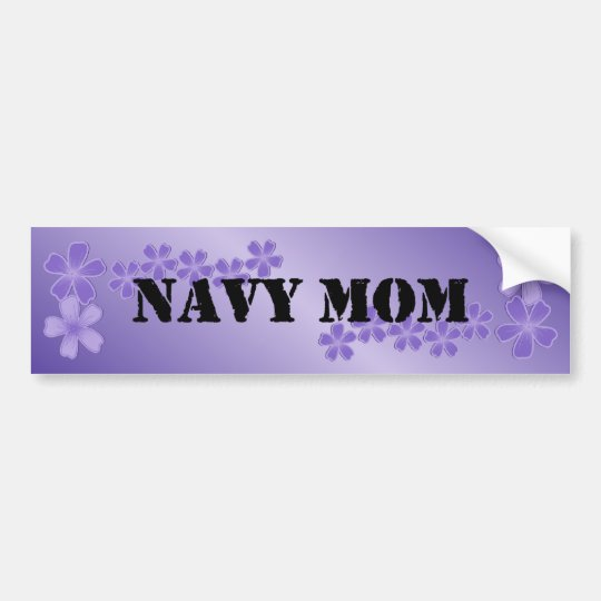 Navy Mum Deep Lilac Bumper Sticker