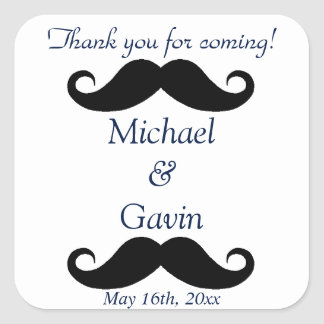 Navy Mustache Thank You For Coming! Gay Wedding Square Stickers