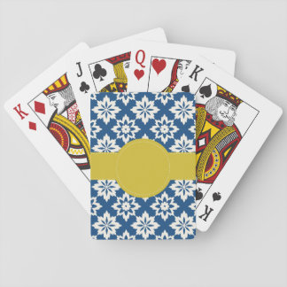 Navy Mustard Personalised Playing Cards