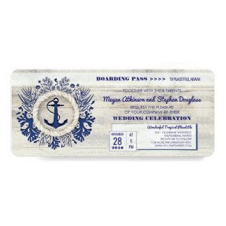 Navy Nautical Anchor Boarding Pass Wedding Ticket 10 Cm X 24 Cm Invitation Card