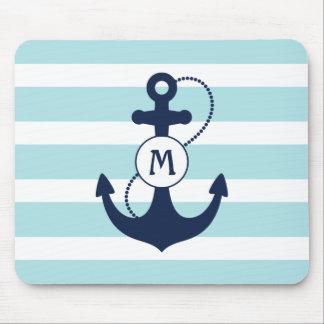 Navy Nautical Anchor Mouse Mat