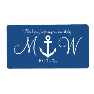 Navy nautical anchor wedding water bottle labels