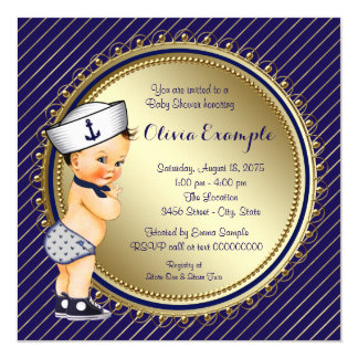 Navy Nautical Baby Shower Card