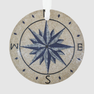 Navy Nautical Compass North south East West Marble Ornament
