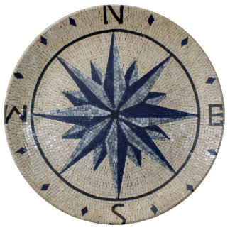 Navy Nautical Compass North south East West Marble Plate