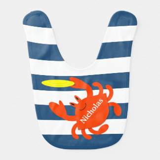 Navy Nautical Crab Personalized Bib