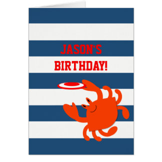 Navy Nautical Crab Personalized Birthday Card