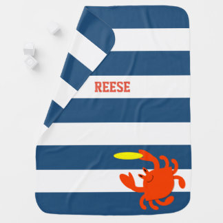 Navy Nautical Frisbee Crab Personalized Baby Blanket
