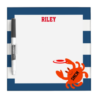 Navy Nautical Frisbee Crab Personalized Dry Erase Board