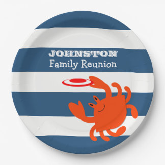 Navy Nautical Frisbee Crab Personalized Paper Plate