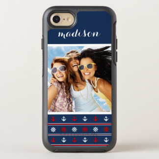 Navy Nautical Pattern   Your Photo & Name OtterBox Symmetry iPhone 8/7 Case