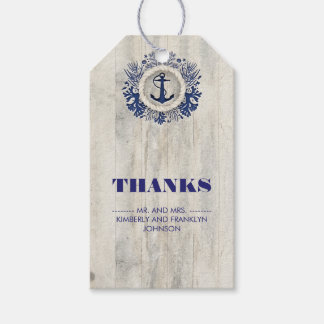Navy Nautical Rustic Beach Wedding Gift Tags
