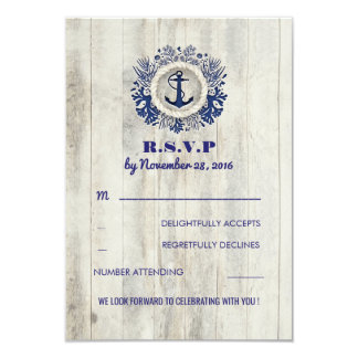 Navy Nautical Rustic Beach Wedding RSVP Card