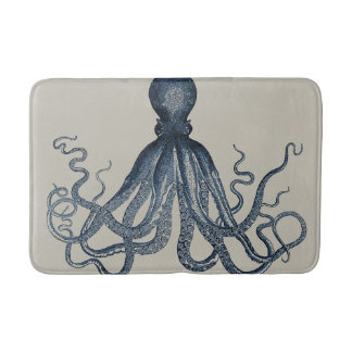 Navy Nautical Steampunk Octopus Vintage Kraken Bath Mat