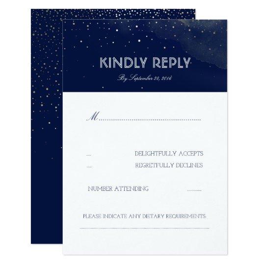 Navy Night Stars Elegant Wedding RSVP Card