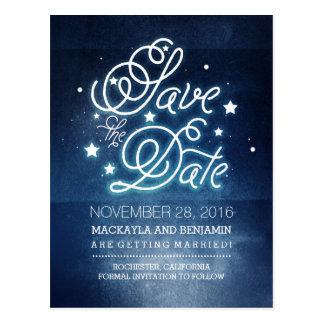 Navy Night Stars Rustic Save the Date Postcard
