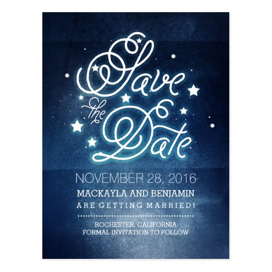 Navy Night Stars Rustic Save the Date Postcard