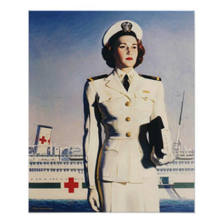 Navy Nurse With Hospital Ship Poster