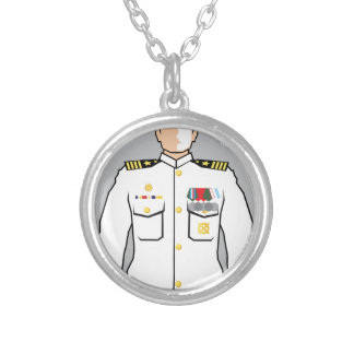 Navy Officer Round Pendant Necklace