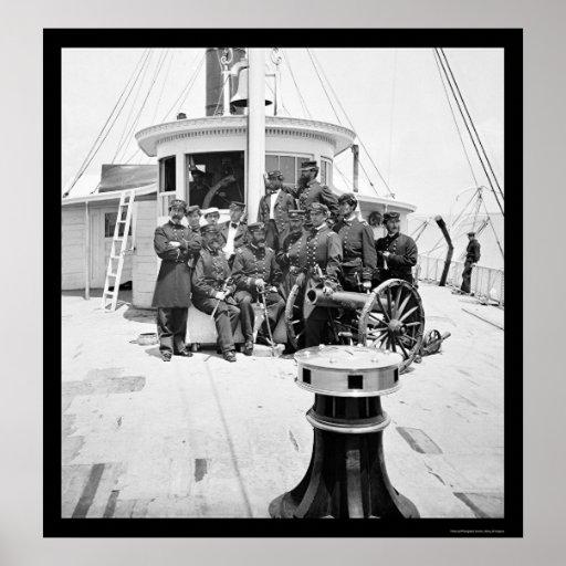 Navy Officers on the USS Philadelphia 1864 Poster