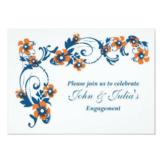 "Navy orange engagement anniversary CUSTOM 5"" X 7"" Invitation Card"