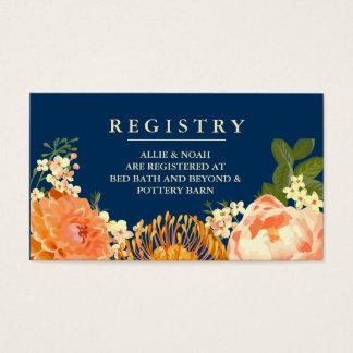 Navy & Orange Floral Wedding Registry Cards