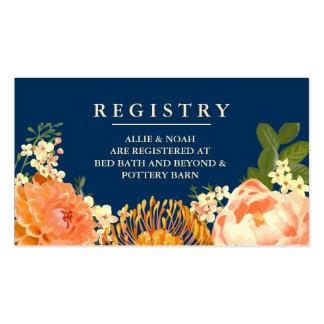 Navy & Orange Floral Wedding Registry Cards Pack Of Standard Business Cards