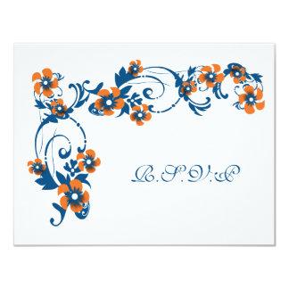 "Navy orange RSVP engagement anniversary CUSTOM 4.25"" X 5.5"" Invitation Card"