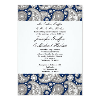 Navy Paisley Wedding Invitations
