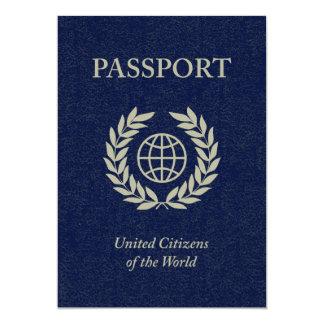navy passport 5x7 paper invitation card