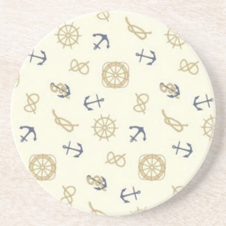Navy pattern blue anchors coaster