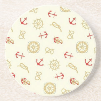 Navy pattern red anchors coaster