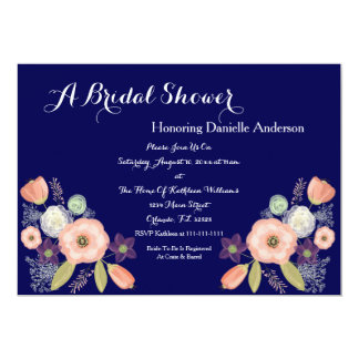 Navy & Peach Floral Bridal Shower Invitations