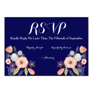 Navy & Peach Watercolor Floral Wedding RSVP Cards