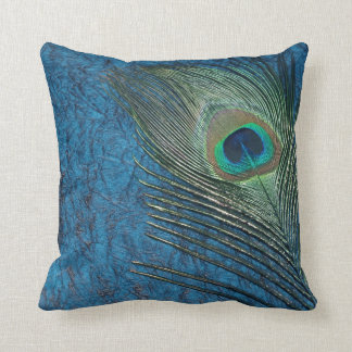 Navy Peacock Throw Pillow