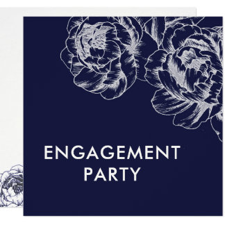 Navy Peony Simple Engagement Party Invitation