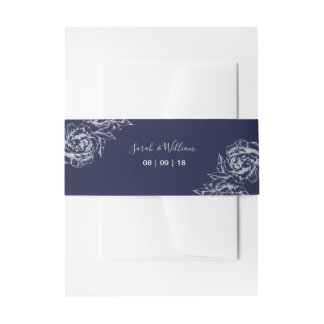 Navy Peony Simple Wedding Invitation Belly Band
