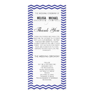 Navy Perfect Chevron/Zig Zag Wedding Program Rack Card