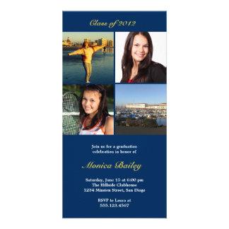 Navy picture block graduation announcement invite photo card